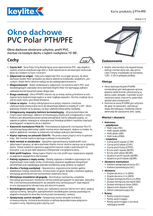 Karta produktu - Okno dachowe PTH-PFE PVC Polar