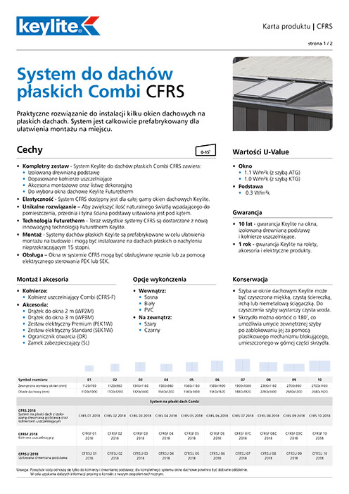 Karta produktu - System do dachów płaskich Combi FRS