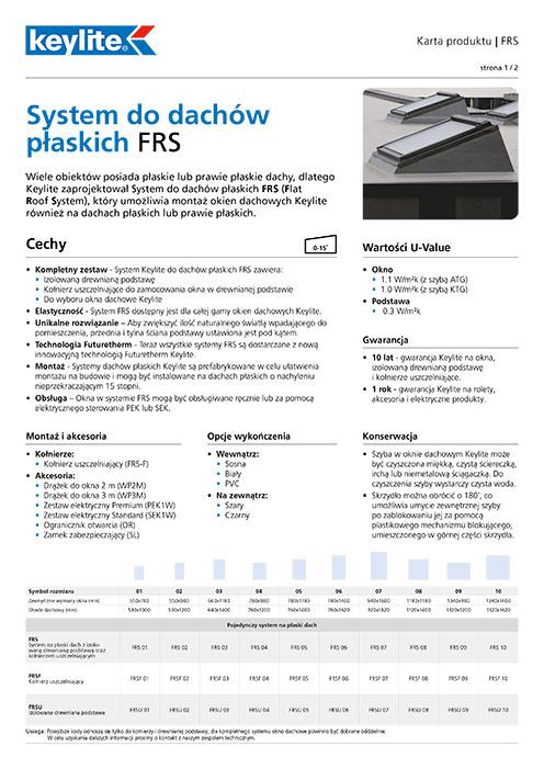 Karta produktu - System do dachów płaskich FRS